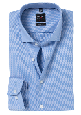OLYMP Level 5 Body Fit overhemd, mouwlengte 7, lichtblauw diamant twill