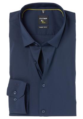 OLYMP No. 6 Six, Super Slim Fit overhemd, donkerblauw (Dynamic Flex)