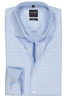 OLYMP Level 5 body fit overhemd, lichtblauw met wit geruit twill