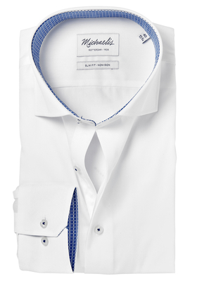 Michaelis Slim Fit overhemd, wit (blauw contrast)