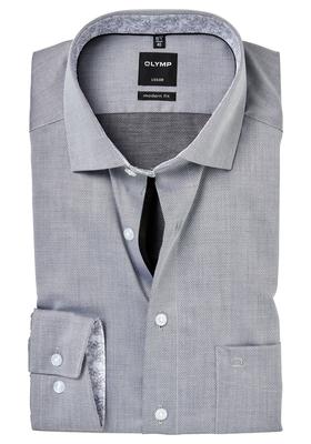 OLYMP Modern Fit overhemd, zwart twill (dessin contrast)