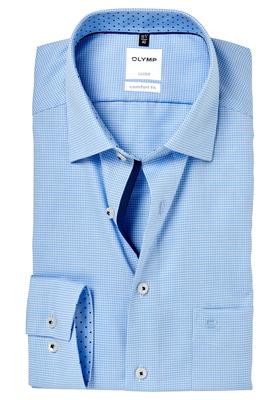 OLYMP Comfort Fit overhemd, lichtblauw geruit (gestipt contrast)