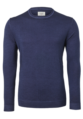 OLYMP Level 5, heren trui wol, O-hals marine blauw (Slim Fit)
