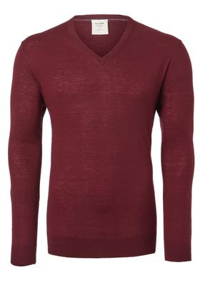 OLYMP Level 5, heren trui wol, donker rood (Slim Fit)