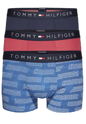 Tommy Hilfiger trunk boxershorts (3-pack), blauw, rood en blauw print