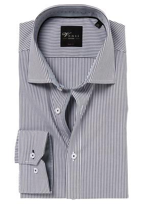 Venti Body Fit overhemd, grijs gestreept (contrast)