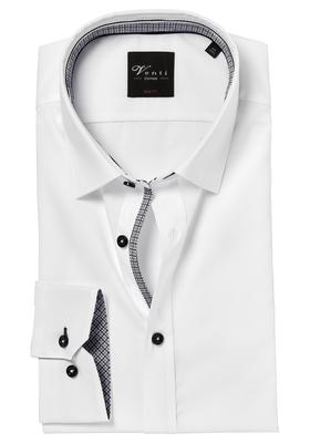 Venti Body Fit overhemd, wit (zwart contrast)