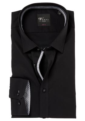 Venti Body Fit overhemd, zwart (contrast)
