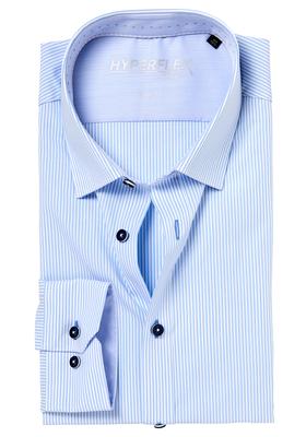 Venti Body Fit overhemd, blauw gestreept (contrast)