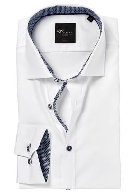 Venti Body Fit overhemd, wit (blauw contrast)