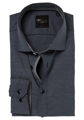 Venti Body Fit overhemd, antraciet grijs (zwart contrast)