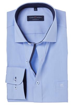Casa Moda Comfort Fit overhemd, blauw gestreept (gestipt contrast)