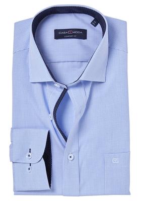 Casa Moda Comfort Fit overhemd mouwlengte 7, blauw geruit (gestipt contrast)