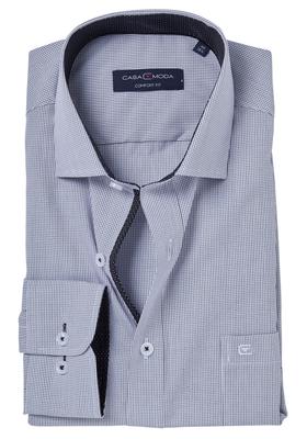 Casa Moda Comfort Fit overhemd mouwlengte 7, zwart geruit (gestipt contrast)