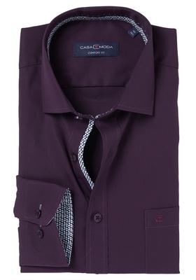 Casa Moda Comfort Fit overhemd, aubergine (zwart contrast)