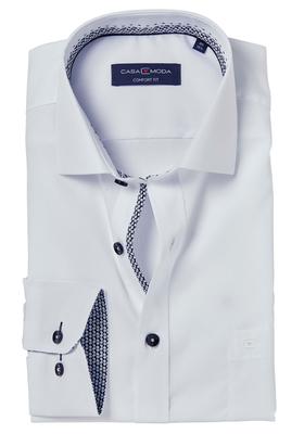 Casa Moda Comfort Fit overhemd mouwlengte 7, wit (zwart contrast)