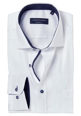 Casa Moda Comfort Fit overhemd, wit structuur (blauw contrast)