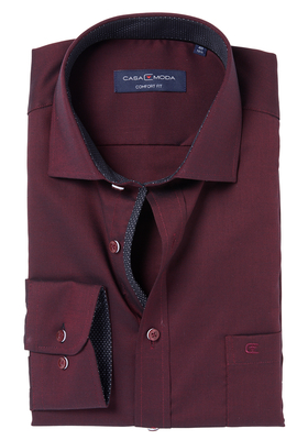 Casa Moda Comfort Fit overhemd, bordeaux rood structuur (zwart contrast)