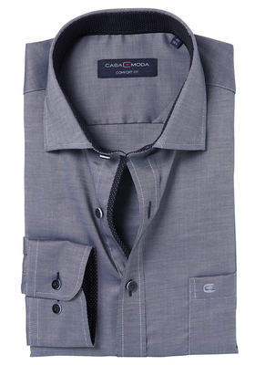 Casa Moda Comfort Fit overhemd, grijs structuur (zwart contrast)