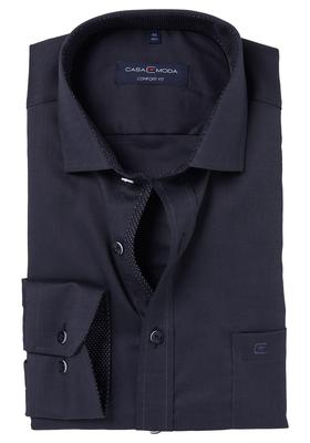 Casa Moda Comfort Fit overhemd, antraciet grijs structuur (zwart contrast)