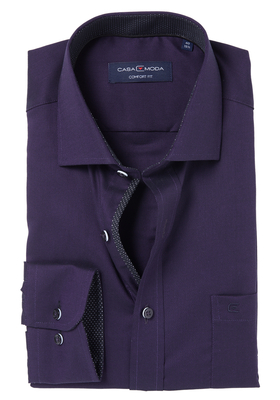 Casa Moda Comfort Fit overhemd, paars structuur (zwart contrast)