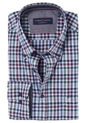 Casa Moda Comfort Fit overhemd, groen-bordeaux geruit (contrast)
