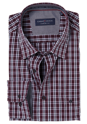 Casa Moda Comfort Fit overhemd, rood-zwart geruit (contrast)