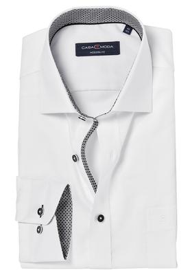 Casa Moda Modern Fit overhemd, wit structuur (zwart contrast)