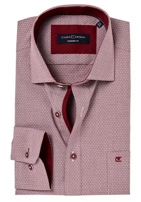 Casa Moda Modern Fit overhemd, rood dessin structuur (contrast)