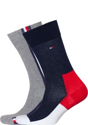 Tommy Hilfiger Iconic Hidden Sock (2-pack), heren sokken katoen, rood-wit-blauw en grijs
