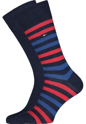 Tommy Hilfiger Duo Stripe Socks (2-pack), herensokken katoen, gestreept en uni, blauw en rood