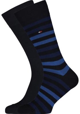 Tommy Hilfiger Duo Stripe Socks (2-pack), herensokken katoen, gestreept en uni, blauw