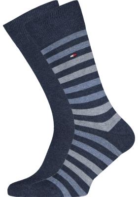 Tommy Hilfiger Duo Stripe Socks (2-pack), herensokken katoen, gestreept en uni, jeans blauw