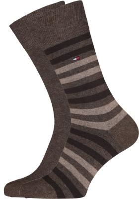 Tommy Hilfiger Duo Stripe Socks (2-pack), herensokken katoen, gestreept en uni, bruin