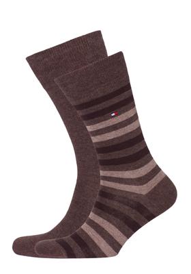 Tommy Hilfiger herensokken (2-pack), duo stripe sock bruin gestreept