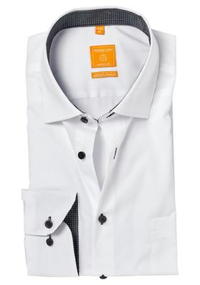 Redmond Modern Fit overhemd, wit (zwart contrast)