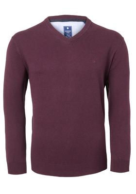 Redmond heren trui katoen, V-hals, bordeaux rood