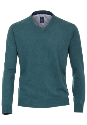 Redmond heren trui katoen, V-hals, donker turquoise
