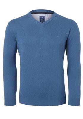 Redmond heren trui katoen, V-hals, middenblauw
