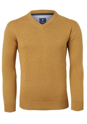 Redmond heren trui katoen, V-hals, oker geel