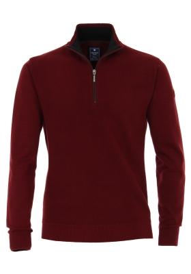 Redmond heren trui katoen, schipperstrui met rits, warm rood