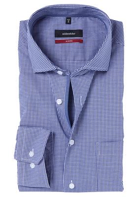 Seidensticker Modern Fit overhemd, donkerblauw geruit (contrast)