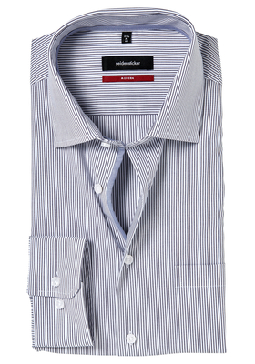 Seidensticker Modern Fit overhemd, donkerblauw gestreept (contrast)