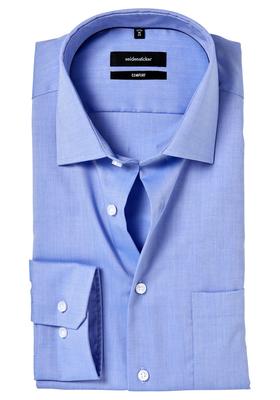 Seidensticker Comfort Fit overhemd, lichtblauw structuur
