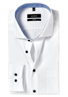 Seidensticker Comfort Fit overhemd, wit (lichtblauw contrast)