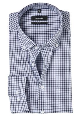 Seidensticker Comfort Fit overhemd, blauw geruit (button-down)