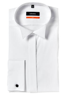Seidensticker Slim Fit overhemd, wit dubbele manchet wing kraag