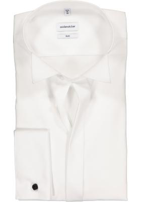 Seidensticker slim fit overhemd, dubbele manchet wing kraag, wit