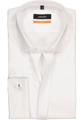 Seidensticker Slim Fit overhemd, wit dubbele manchet Kent kraag