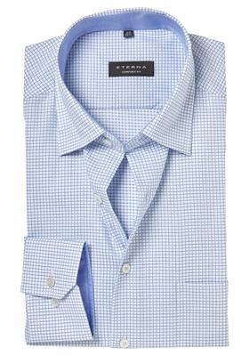ETERNA Comfort Fit overhemd, lichtblauw geruit (contrast)